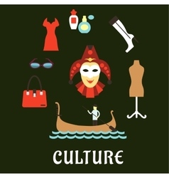 Italian culture and travel flat icons vector