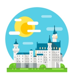 Neuschwanstein castle flat design landmark vector