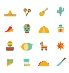 Mexican culture symbols flat icons set vector