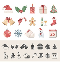 Flat icons christmas vector