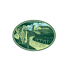 Grapes vineyard winery oval woodcut vector