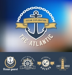 Set of nautical logo template vector