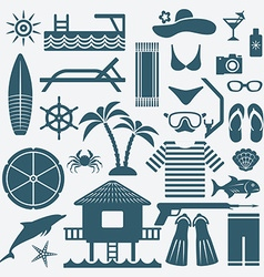 Seaside holiday icons set vector