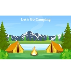 Poster showing campsite with a campfire vector