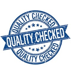 Quality checked grunge retro blue isolated ribbon vector
