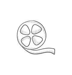 Film reel sketch icon vector