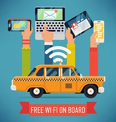 Wifi in a Taxi Poster vector image