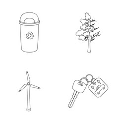 A garbage can a diseased tree a wind turbine a vector