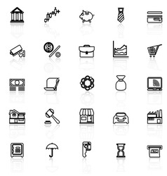 Banking and financial line icons with reflect on vector image vector image