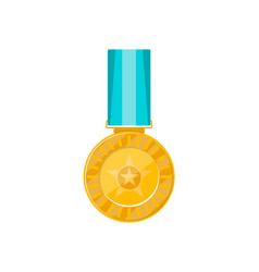champion golden medal with blue ribbon vector image vector image