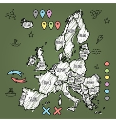 Doodle europe map on green chalkboard with pins vector