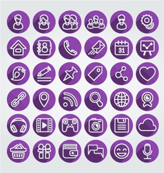 Flat Icons Social Network Round Purple Set vector image