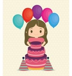 Girl cartoon and happy birthday design vector