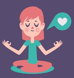 Girl meditading thinking about love vector