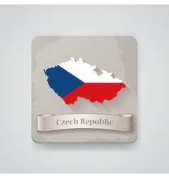Icon of czech republic map with flag vector