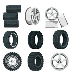 icon set of different disks for wheels and tires vector image