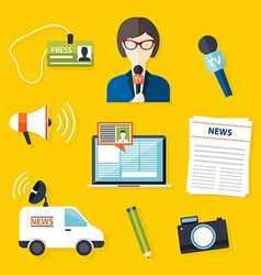 Journalism press news reporter Set of journalism vector image vector image