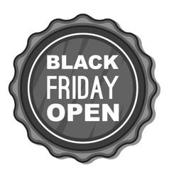Label black friday open icon vector