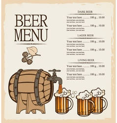 menu for beer vector image
