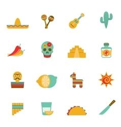 Mexican culture symbols flat icons set vector image