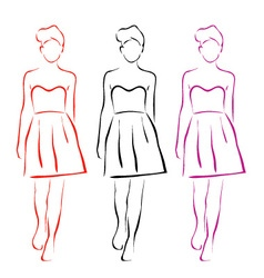 Models on a runway in designer outfit vector image