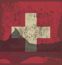 Mountains of switzerland and the state flag vector