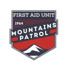Mountains patrol first aid unit label vector