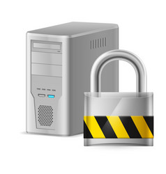 Padlock and gray case of computer of designer on vector