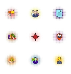 Promotion icons set pop-art style vector image vector image