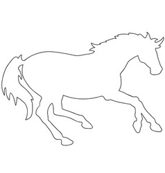 rearing horse fine silhouette - black over vector image vector image