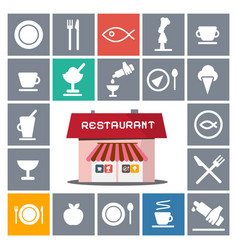 restaurant house with flat icons vector image