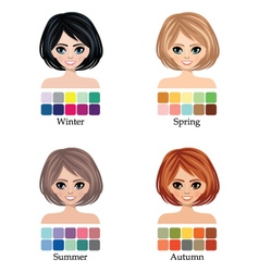 Seasonal color types of woman face vector image vector image