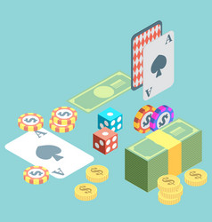 set of casino icons in flat isometric design vector image