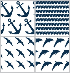 Set of sea patterns vector image vector image