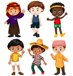 six boys from different countries vector image