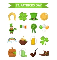St Patricks Day icon set design element vector image vector image