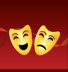 theatre comedy and tragedy masks vector image