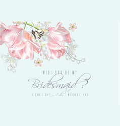 Tulip butterfly bridesmaid vector