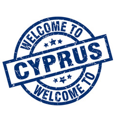 Welcome to cyprus blue stamp vector