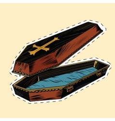 Wooden coffin with christian cross label sticker vector
