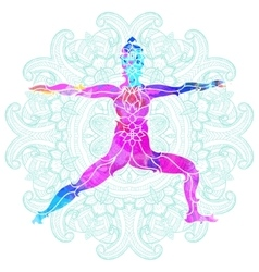Decorative colorful yoga pose over ornate round vector