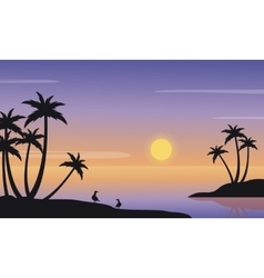 At sunrise seaside landscape of silhouette vector image