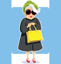 senior fashion lady holding purse vector image