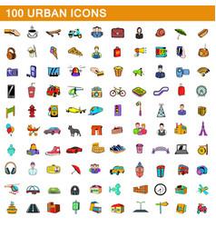 100 urban icons set cartoon style vector