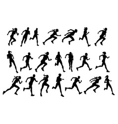 Runners running silhouettes vector
