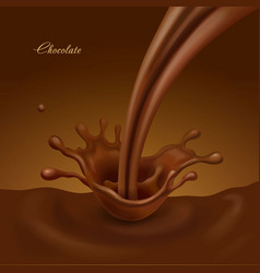 Splashing chocolate liquid sweet cocoa vector