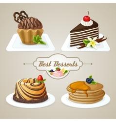 Sweets dessert set vector image