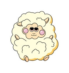 Fun sheep on white background vector