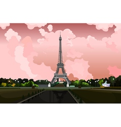 Eiffel tower in paris on a background of pink sky vector