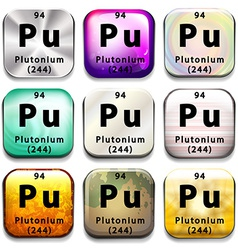 Buttons showing plutonium and its abbreviation vector